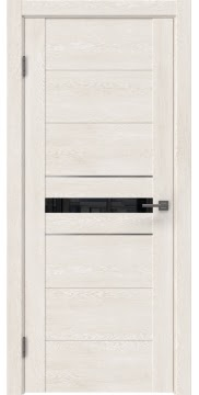 Межкомнатная дверь GM003 (экошпон «белый дуб» / лакобель черный) — 0424