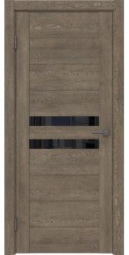 Межкомнатная дверь GM004 (экошпон «дуб антик» / лакобель черный) — 0436