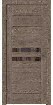 Межкомнатная дверь, GM004 (экошпон дуб антик, лакобель коричневый)