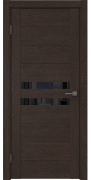 Межкомнатная дверь, GM004 (экошпон дуб шоколад, лакобель черный)
