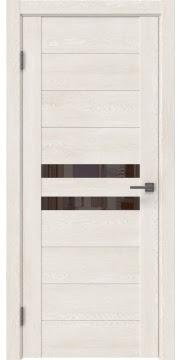 Межкомнатная дверь GM004 (экошпон «белый дуб» / лакобель коричневый) — 0438