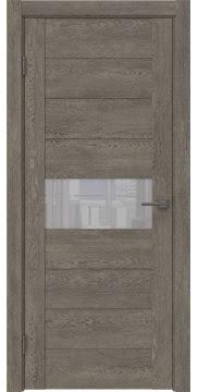 Межкомнатная дверь, GM005 (экошпон серый дуб, лакобель белый)