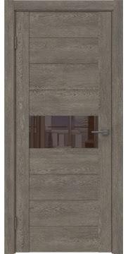 Межкомнатная дверь GM005 (экошпон «серый дуб» / лакобель коричневый) — 0466
