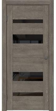 Межкомнатная дверь GM006 (экошпон «серый дуб» / лакобель черный) — 0501