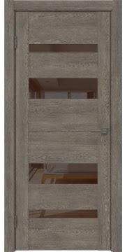 Межкомнатная дверь GM006 (экошпон «серый дуб» / лакобель коричневый) — 0499