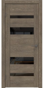 Межкомнатная дверь GM006 (экошпон «дуб антик» / лакобель черный) — 0493