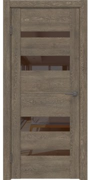 Межкомнатная дверь, GM006 (экошпон дуб антик, лакобель коричневый)
