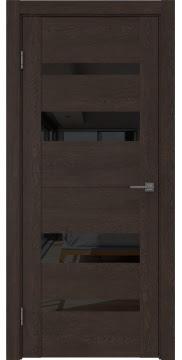 Межкомнатная дверь GM006 (экошпон «дуб шоколад» / лакобель черный) — 0505