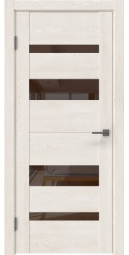 Межкомнатная дверь GM006 (экошпон «белый дуб» / лакобель коричневый) — 0495