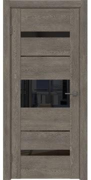 Межкомнатная дверь GM007 (экошпон «серый дуб» / лакобель черный) — 0529