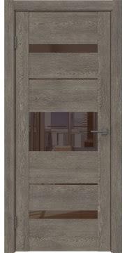 Межкомнатная дверь GM007 (экошпон «серый дуб» / лакобель коричневый) — 0527
