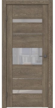 Межкомнатная дверь GM007 (экошпон «дуб антик» / лакобель белый) — 0518