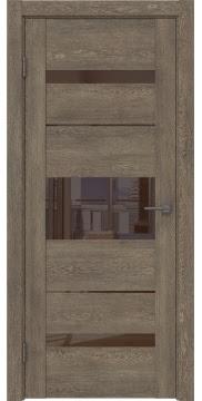 Межкомнатная дверь GM007 (экошпон «дуб антик» / лакобель коричневый) — 0519