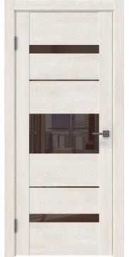 Межкомнатная дверь GM007 (экошпон «белый дуб» / лакобель коричневый) — 0523