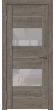 Межкомнатная дверь, GM008 (экошпон серый дуб, лакобель белый)