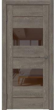 Межкомнатная дверь GM008 (экошпон «серый дуб» / лакобель коричневый) — 0593