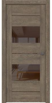 Межкомнатная дверь GM008 (экошпон «дуб антик» / лакобель коричневый) — 0585