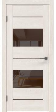 Межкомнатная дверь GM008 (экошпон «белый дуб» / лакобель коричневый) — 0589
