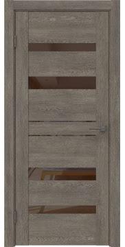 Межкомнатная дверь GM009 (экошпон «серый дуб» / лакобель коричневый) — 0609