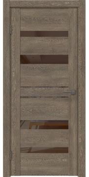 Межкомнатная дверь GM009 (экошпон «дуб антик» / лакобель коричневый) — 0601