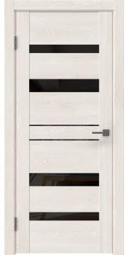 Межкомнатная дверь, GM009 (экошпон белый дуб, лакобель черный)