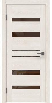Межкомнатная дверь, GM009 (экошпон белый дуб, лакобель коричневый)