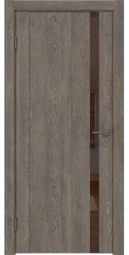 Межкомнатная дверь GM010 (экошпон «серый дуб» / лакобель коричневый) — 0654