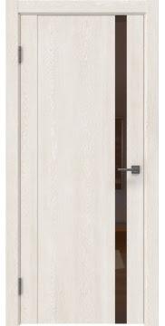 Межкомнатная дверь GM010 (экошпон «белый дуб» / лакобель коричневый) — 0650