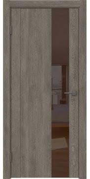 Межкомнатная дверь GM011 (экошпон «серый дуб» / лакобель коричневый) — 0670