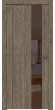 Межкомнатная дверь GM011 (экошпон «дуб антик» / лакобель коричневый) — 0662