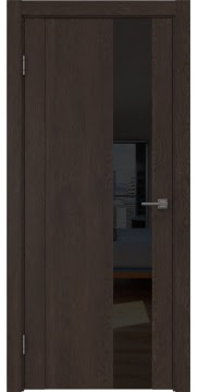 Межкомнатная дверь GM011 (экошпон «дуб шоколад» / лакобель черный) — 0676