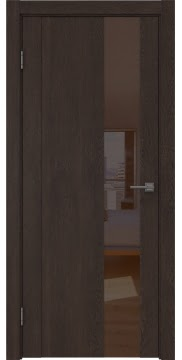 Межкомнатная дверь GM011 (экошпон «дуб шоколад» / лакобель коричневый) — 0674