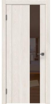 Межкомнатная дверь GM011 (экошпон «белый дуб» / лакобель коричневый) — 0666