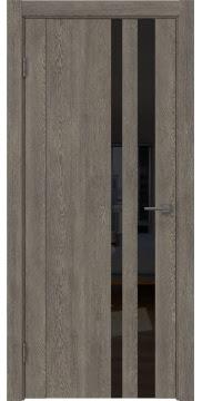 Межкомнатная дверь GM012 (экошпон «серый дуб» / лакобель черный) — 0688
