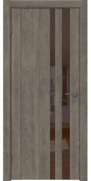 Межкомнатная дверь GM012 (экошпон «серый дуб» / лакобель коричневый) — 0686
