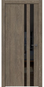Межкомнатная дверь GM012 (экошпон «дуб антик» / лакобель черный) — 0680
