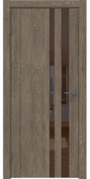 Межкомнатная дверь GM012 (экошпон «дуб антик» / лакобель коричневый) — 0678
