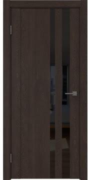 Межкомнатная дверь GM012 (экошпон «дуб шоколад» / лакобель черный) — 0692