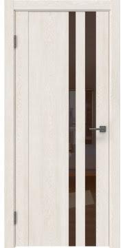 Межкомнатная дверь GM012 (экошпон «белый дуб» / лакобель коричневый) — 0682