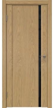 Межкомнатная дверь, GM015 (шпон дуб натуральный, триплекс черный)