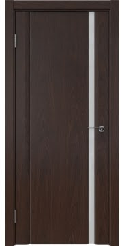 Межкомнатная дверь, GM015 (шпон дуб коньяк, триплекс белый)