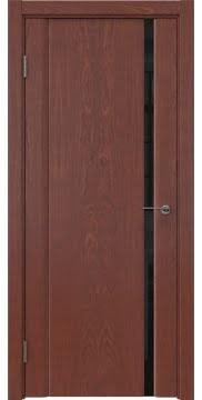 Межкомнатная дверь, GM015 (шпон красное дерево, триплекс черный)