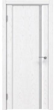 Межкомнатная дверь, GM015 (шпон белый ясень, триплекс белый)