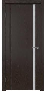 Межкомнатная дверь GM015 (шпон ясень темный / триплекс белый) — 5553