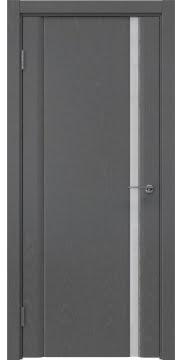 Межкомнатная дверь, GM015 (шпон ясень серый, триплекс белый)