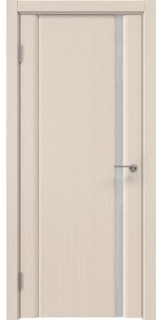 Межкомнатная дверь, GM015 (шпон беленый дуб, триплекс белый)