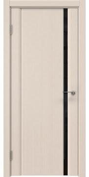 Межкомнатная дверь, GM015 (шпон беленый дуб, триплекс черный)