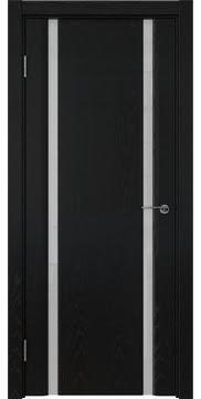 Межкомнатная дверь GM016 (шпон ясень черный / триплекс белый) — 5834