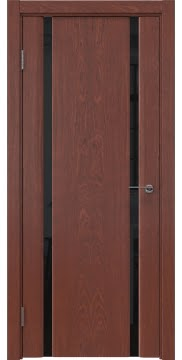 Межкомнатная дверь, GM016 (шпон красное дерево, триплекс черный)