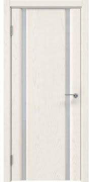 Межкомнатная дверь, GM016 (шпон ясень слоновая кость, триплекс белый)